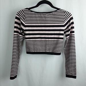 bebe Tops - bebe Pink &  Black Stripe Crop Top